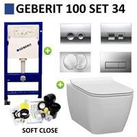 Geberit UP100 Toiletset set34 Idevit Halley Vierkant Randloos 36x52x30cm met Delta drukplaat