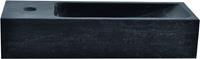 saqu Fontein smal 1 kraangat links 38x14x8 cm Hardstenen Zwart