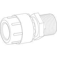 """WISA Simplast overgangskoppeling buitendraad 16 mm xG1/2"""", zwart"""