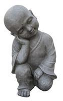 Farmwoodanimals Boeddha Shaolin Monnik Relax 42 Cm Licht Grijs Fiberclay