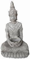Farmwoodanimals Boeddha Kwan Yin Met Bak 36X26X66 Cm Licht Grijs Fiberclay