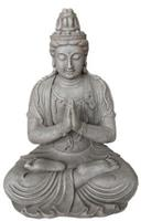 Farmwoodanimals Boeddha Kwan Yin Zit 44X36X59 Cm Licht Grijs Fiberclay
