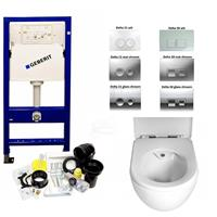 Geberit UP100 toiletset Creavit rimfree toilet met sproeier incl. softclose zitting