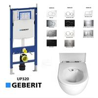 Geberit UP320 toiletset Creavit rimfree toilet met sproeier incl. softclose zitting