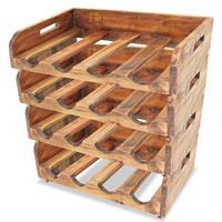 VidaXL Wijnrekken voor 16 flessen massief gerecycled hout 4 st