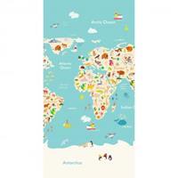 Good Morning Worldmap strandlaken - 75x150 cm - Multi