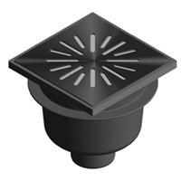 Aquaberg vloerput met 1 aansluiting uitwendige buisdiameter 75mm (hxb) 144x200mm vloerput ABS