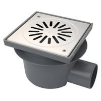 Aquaberg ABS vloerput met RVS rooster vastgeschroefd met zijruitl. Ø75mm niet verstelbaar 200x200mm met PPC emmer/reukafsluiter reukslot 60mm 4021S