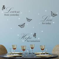 Walplus home decoratie sticker - learn live hope quote wit met 20 swarovski kristallen