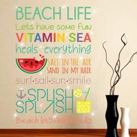 Walplus home decoratie sticker - strand quotes (eng) met 20 swarovski kristallen