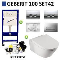 Geberit Up100 Toiletset 04 Aqua Splash Metro Met Bril En Drukplaat - Standaard Delta 21 Wit (115125111)