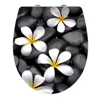 Toiletbril Wenko Bloom Softclose 45x38.8cm Acryl Zwart