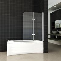 Aqua Splash 2-Delige Inklapbare Badwand 100X140 cm 6 mm Nano Glas