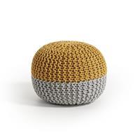 Laforma/kavehome Gebreide PoefArnot' 50cm, kleur Geel