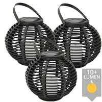 Slk Drie stuks Solar Lantaarn Basket Medium Rotanlook lamp op zonne energie