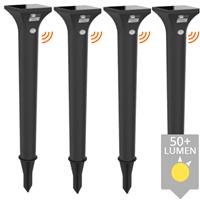Slk Solar priklamp Move padverlichting II zwart met bewegingssensor set van 4 stuks