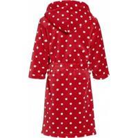 Kinder badjas rood met stippen 134/140 (9-10 jr)