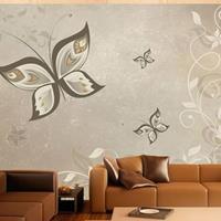 Fotobehang - Vlinders in het grijs , wit