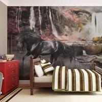Fotobehang - Zwart paard voor een waterval , multi kleur