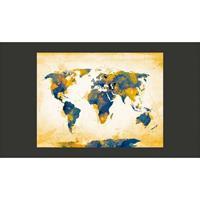 Fotobehang - Wereldkaart , zon en lucht