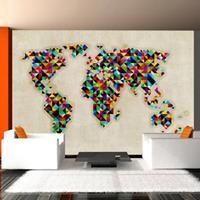 Fotobehang - Wereldkaart, een veelheid aan kleuren