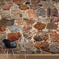 Fotobehang - Artistieke stenen muur , grijs bruin