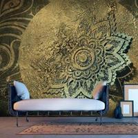Fotobehang - Gouden schat , mandala , beige bruin