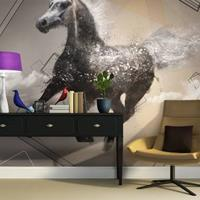 Fotobehang - Paard in draf , beige zwart