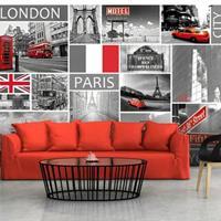 Fotobehang - Londen, Parijs, Berlijn, New York