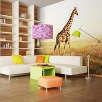 Fotobehang - giraffe - wandeling , beige bruin