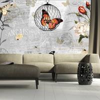 Fotobehang - Het lied van de Vlinders , grijs oranje