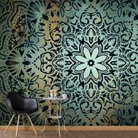 Fotobehang - De bloem van rust , mandala , zwart blauw