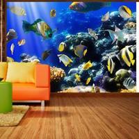 Fotobehang - Onderwater avontuur , vissen , blauw geel