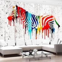 Fotobehang - Gekleurde Zebra , multi kleur