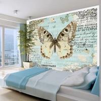 Fotobehang - Ansichtkaart met Vlinder , beige grijs