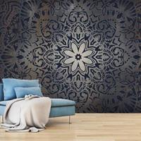Fotobehang - Bloem van metaal , mandala , beige zwart