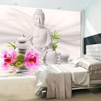 Fotobehang - Boeddha en Orchidee