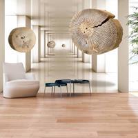 Fotobehang - Vliegende schijven van hout
