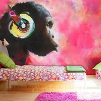 Fotobehang - Chimpansee , multi kleur