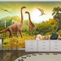 Fotobehang - Dinosaurus , beige groen