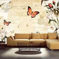 Fotobehang - Vlinders en Muziek , beige oranje