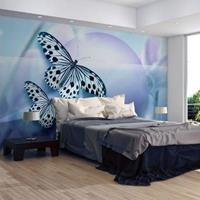 Fotobehang - Planeet van Vlinders , blauw zwart