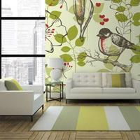 Fotobehang - Vogels en lelies vintage patroon