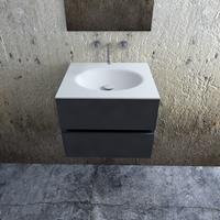 Zaro Sevilla Solid Surface badkamermeubel 60cm mat antraciet zonder kraangat