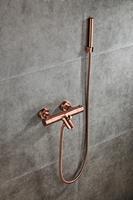 saniclear Copper thermostatische badkraan met handdouche geborsteld koper