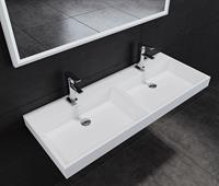 Lambinidesigns solid surface dubbele wastafel met 2 kraangaten 120x47x8cm mat wit