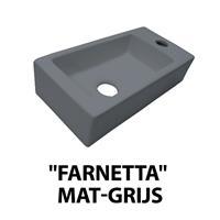 Best Design Fontein Farnetta Kraangat Rechts 37x18x9cm Mat-Grijs