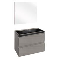Thecollection The Collection Concept Badmeubelset met spiegel 60cm - Grijs/Zwart