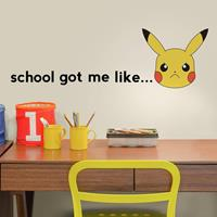 muurstickers Pikachu School vinyl 12 stuks