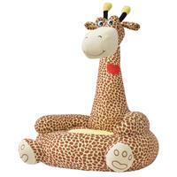 Kinderstoel pluche giraffe bruin